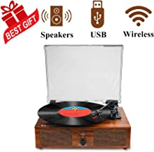 Vinyl Record Player,Bluetooth Turntable with Built-in Speakers and USB, Belt-Driven Vintage Record Player 3 Speed for Entertainment and Home Decoration