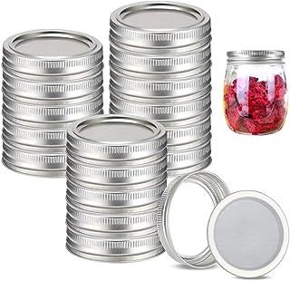 48pcs/24Set Regular Mouth Canning Lids Bands Split-Type for Mason Jar Canning Lids (silver)