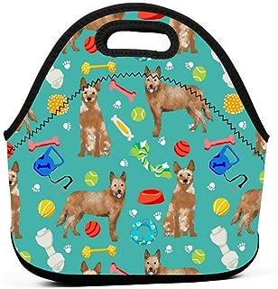 オーストラリアの牛犬のおもちゃ - 犬のおもちゃ、犬、犬の品種、牛犬 - レッドヒーラー - ティールランチバッグ断熱サーマルランチトートアウトドアトラベルピクニックキャリーケースランチボックスハンドバッグジッパー付き