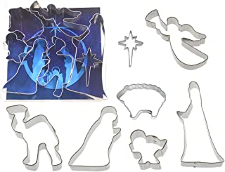 Nativity Cookie Cutter Set 7 Pc L9037 - Joseph 5.75 in, Mary 4.5 in, Baby in Manger 2 in, Camel 4 in, Star of East 2.75 in, Sheep 3 in, Angel 4.25 in - Foose USA Tin Plate Steel
