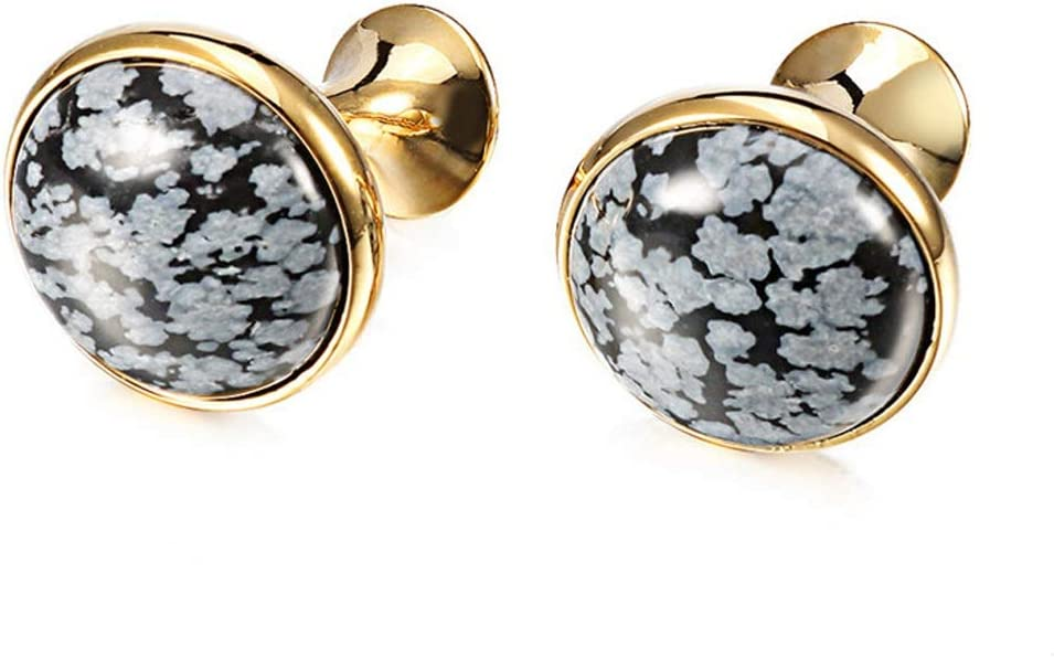 GYZX Jewelry Shirt Cufflinks for Mens Brand Buttons Cuff Links Stone (Color : Gold)