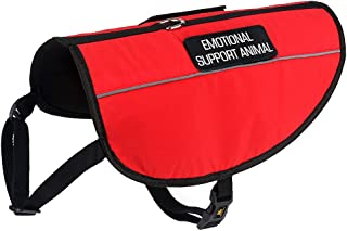 Plutus Pet Emotional Support Dog Vest Reflective Straps,Bright Red Fabric&Mesh Harness 2 Free Removable Embroidery Emotional Support Animal Patches,6 Adjustable Sizes