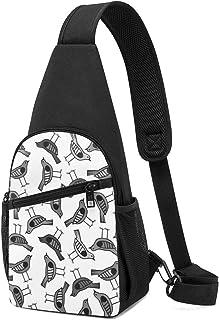 Diseño de pájaro dibujado a mano con patrón de fondo con bolsa de color oscuro, mochila ligera para el pecho mochila bolsa...