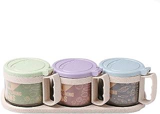 WWJHH-seasoning box Boîte à assaisonnement - Boîte de Rangement - Paille de blé + Verre - Assaisonnement de Cuisine - Assa...