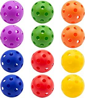 GSE Games & Sports Expert 12-Pack of Plastic Practice Baseballs | Indoor Pickleballs (Several Colors Available)