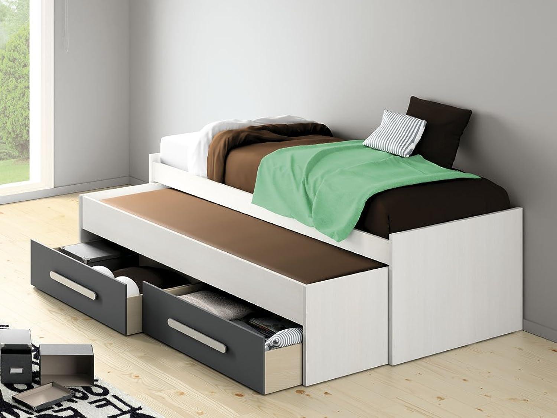 Idkid' S–Ausziehbett 90x 200–Lattenroste und Schubladen inklusive, Weiß Anthracite, 90 x 200 cm
