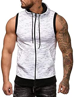 Sumen Summer Clothing Men's Gym Fitness Mesh Hoodie Sleeveless T-Shirt Muscle Tank Top