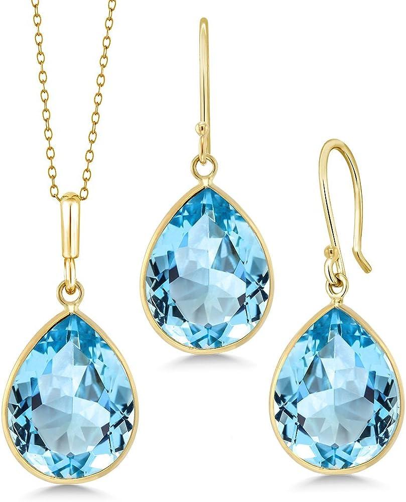 Gem Stone King 14K Yellow Gold Blue Topaz Pear Shape Pendant & Earring Set, 27.00 Ctw Gemstone Birthstone