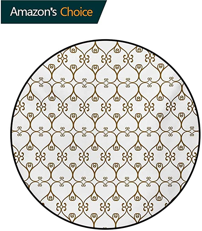 RUGSMAT Abstract Machine Washable Round Bath Mat Traditional Swirled Damask Victorian Influences With Modern Oriental Details Non Slip No Shedding Bedroom Soft Floor Mat Diameter 71 Inch