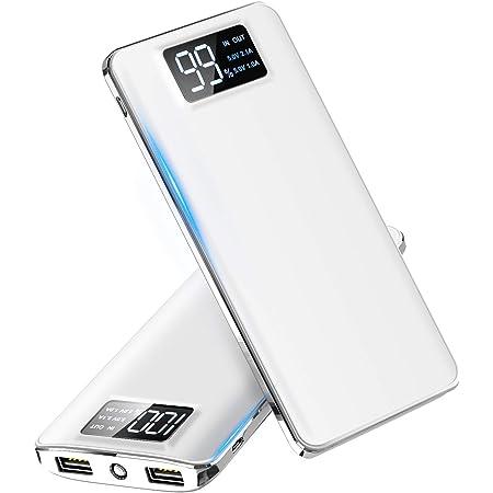 【2021最新版】モバイルバッテリー 大容量 15600mAh スマホ充電器 LCD残量表示 2つUSB出力ポート(1A+2.1A)急速充電バッテリー 軽量 薄型 旅行/緊急用 Android/iPhone/iPad対応 (ホワイト)