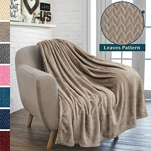 PAVILIA Luxury Flannel Fleece Blanket Throw Taupe Camel Neutral | Soft Decorative Jacquard Weave Microfiber Throw for Bed Sofa Couch | Velvet Textured Leaves Pattern | Lightweight Plush Cozy | 50'x60'