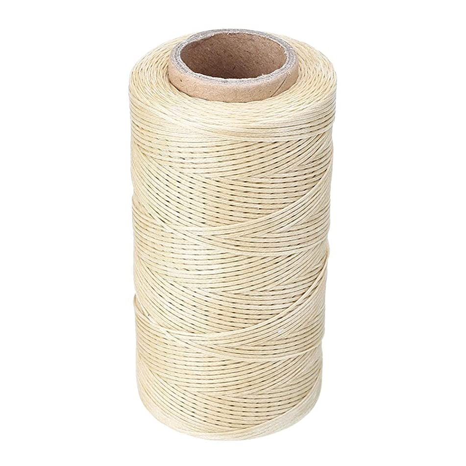KKTech 260M 1mm 150D Flat Waxed Wax Thread Cord Sewing Craft for DIY Leather Tool Hand Stitching (cream-coloured)
