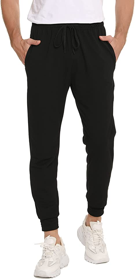 Men's Cotton Jogging Bottoms Slim Fit Lightweight Joggers Trousers Soft Lounge Pants with Pockets