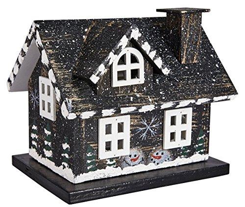 LED Holzhaus Weihnachtshaus Major Haus Schwarz Teelicht Batteriebetrieb ca. 12 x 14,5 x 11 cm (HxBxT)