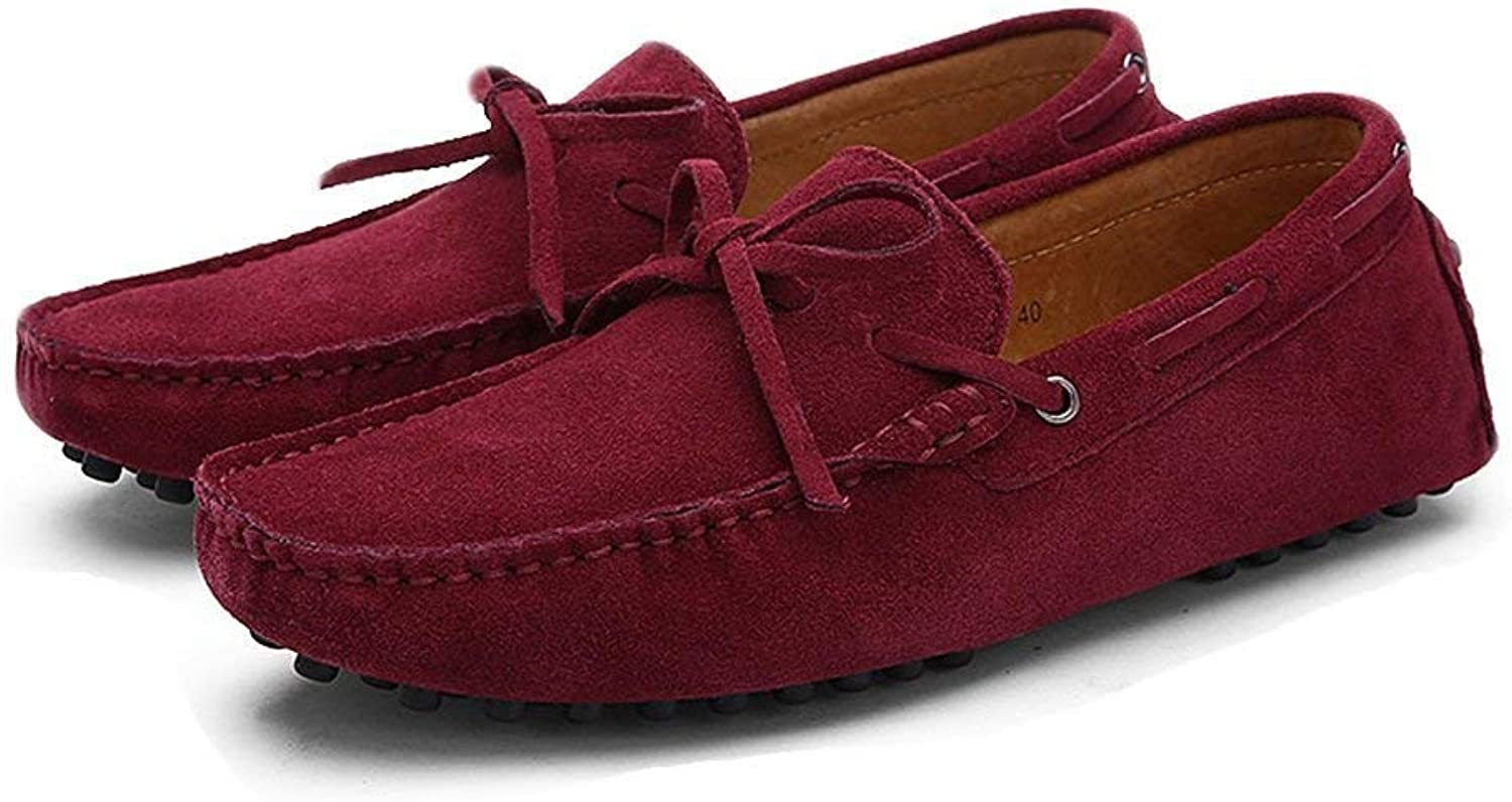 Oudan Men's Moccasins shoes, Men Driving Penny Loafers Genuine Leather Boot Lightweight Moccasins (color  Wine, Size  49 EU) (color   As shown, Size   One size)