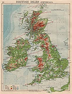 BRITISH ISLES RELIEF. Showing isotherms in January & July. JOHNSTON - 1895 - old map - antique map - vintage map - British Isles maps