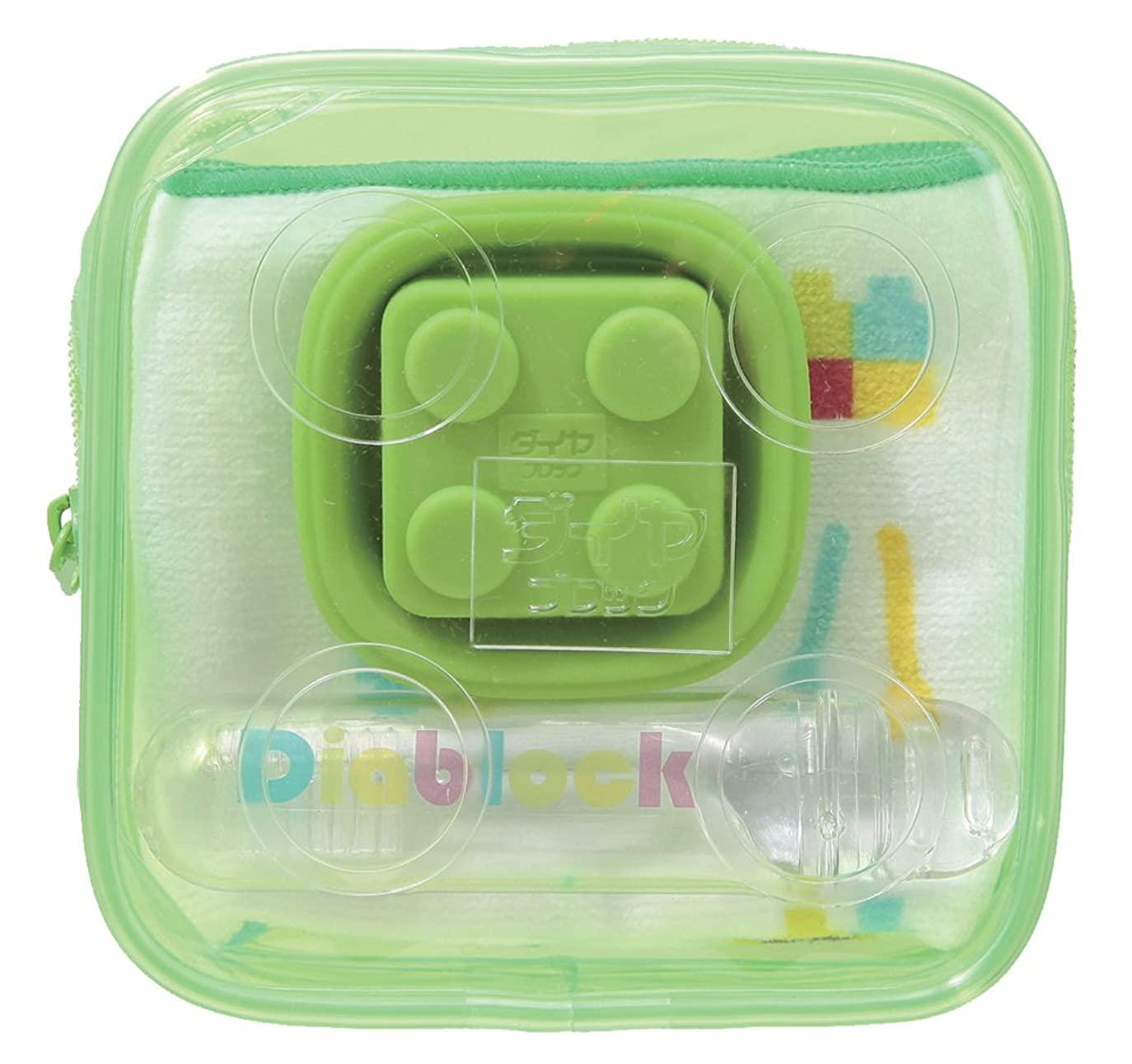 不振母性フォークダイヤブロック 歯ブラシセット タオル付き グリーン DTRS-120 G
