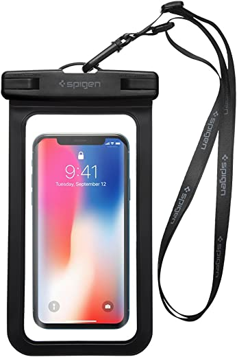 Spigen Universal Waterproof Case Pouch Dry Bag Designed for Most Cell Phone (6.2 inch) & Accessories – Black