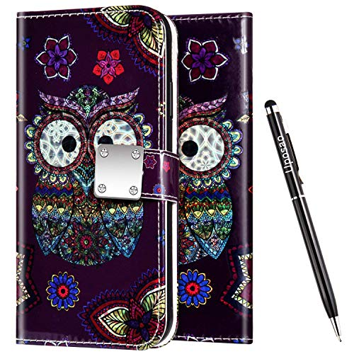 Uposao Kompatibel mit Samsung Galaxy A20 / A30 Handyhülle Leder Hülle Glitzer Bling Glänzend Bunt Muster Schutzhülle Flip Case Brieftasche Klapphülle Ledertasche Ständer Kartenfächer,Eule