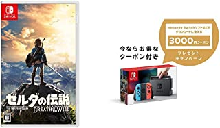 ゼルダの伝説 ブレス オブ ザ ワイルド - Switch + Nintendo Switch 本体 (ニンテンドースイッチ) 【Joy-Con (L) ネオンブルー/ (R) ネオンレッド】 +  ニンテンドーeショップでつかえるニンテンドープリペイド番号3000円分 セット