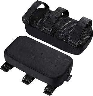HEALLILY 2 cojines para reposabrazos de silla, cojín de memoria para el hogar, oficina, silla de juegos, alivio de presión, reposabrazos universales, almohadillas para reposabrazos (negro)