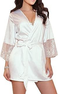 Women Bathrobe Bridesmaid Lace Lingerie V Neck Trim Nightwear Babydoll Erotic Sleepwear