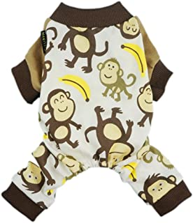 """Fitwarm Soft Cotton Adorable Monkey Dog Pajamas Shirt Pet Clothes, Brown Small (Chest14"""" Back10"""") Brown Monkeypjs_S_A6411"""