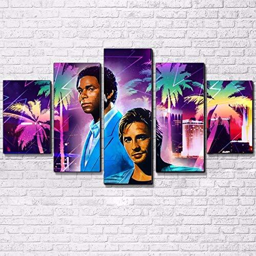 AMOHart Impresiones de la Lona Arte de la Pared Decoración para el hogar Cartel 5 Piezas Miami Vice Movie Star Totally Awesome Retro Painting Cuadro sobre Lienzo Marco Nuevo