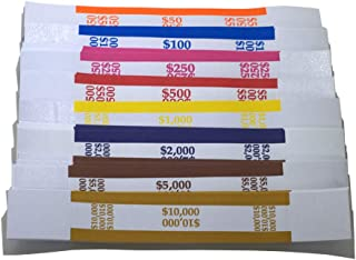 400 Assorted Currency Band Bundles Self Sealing Blank White Currency Straps Bands Money Bill Band Strap 7.5 x 1.15 Inches (400 Assorted, 50 of Each)