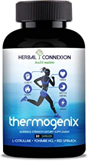Herbal Connexion's Premium Thermogenix Fat Burner - Non-GMO Weight Loss Supplement for Women & Men - Yohimbe HCL,Red Spinach, Horny Goat Weed, Long Jack, L Citrulline - 60 Veggie Diet Pills