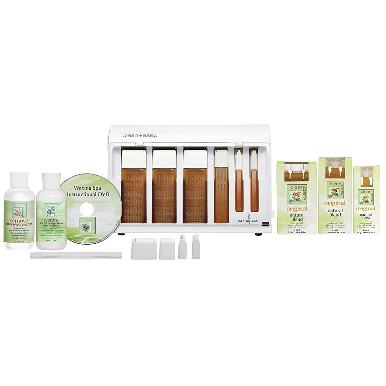 Clean + Easy Professional Roll On Facial Body Waxing Spa Basic Wax Kit, 22 Count