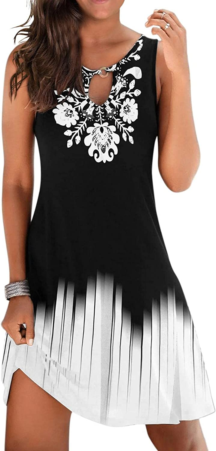 Dresses for Women Casual, Summer Cami Dress Round Neck Dresses Sleeveless Maxi Holiday Beach Dress with Pockets