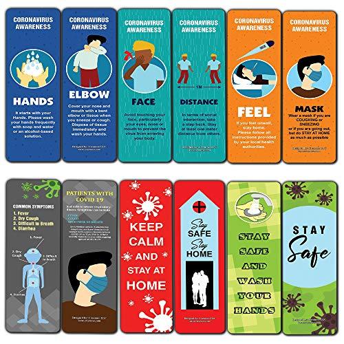 Coronavirus consapevolezza Segnalibri Cards (60-Pack) - Premium Quality Idee regalo per i bambini, adolescenti, adulti e per tutte le occasioni - Stocking Stuffers favore di partito e omaggi