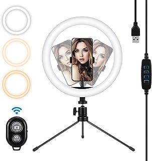 MOHOO LED-ringlampa, 25 cm ringlampa med stativstativ för YouTube-video, vlogg och smink, ringlampa med 3 ljuslägen och 10...