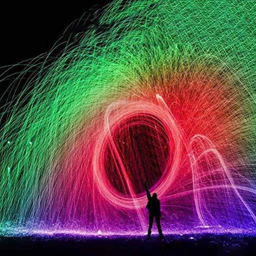 Ettzlo Regenbogen Stahlwolle Feuerwerk 2021 - Stahlwolle Feuerwerk Flamme - Flamme Magie Feuer Zaubertricks Simulation Feuerwerk Feier Neujahr Weihnachten (5Rolls + A Tool Kits)