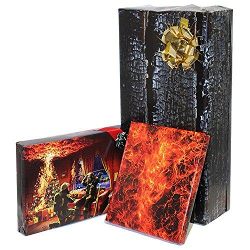 Feuerwehr Geschenkpapier Weihnachten und Nikolaus | 70 x 100 cm im 3er Set Bögen
