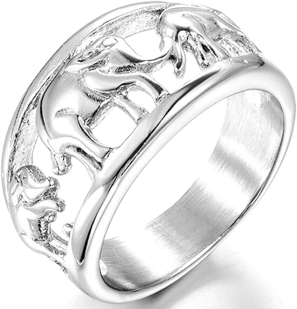 Jude Jewelers Stainless Steel Elephant Wedding Band Cocktail Party Ring