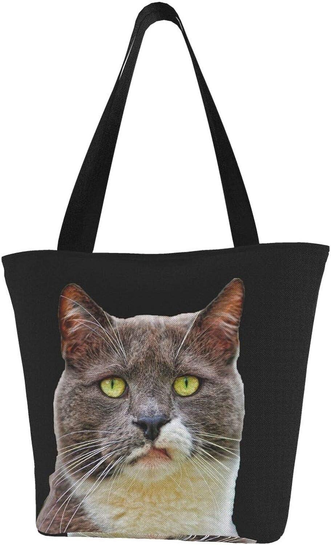 Despise Face Cat Fuuny Themed Printed Women Canvas Handbag Zipper Shoulder Bag Work Booksbag Tote Purse Leisure Hobo Bag For Shopping