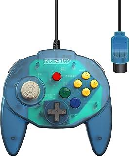 Retro-Bit Tribute 64 Contrôleur Filaire pour Nintendo 64 Port d'origine Bleu océan