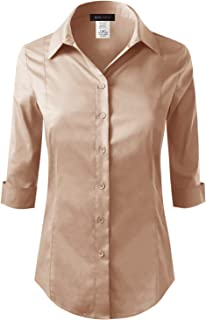 ELF FASHION Roll up 3/4 Sleeve Button Down Shirt Womens Made in USA (Size S~3XL)
