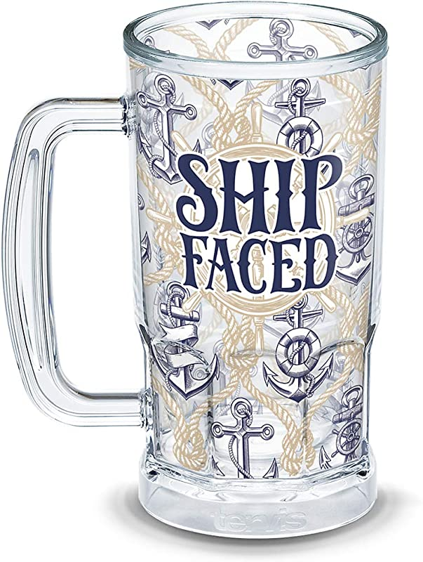 Tervis 1294945 Ship Faced Insulated Tumbler With Wrap 16oz Beer Mug Clear