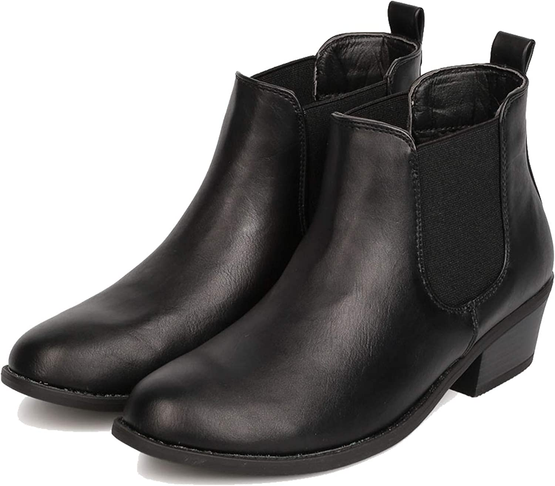 ShoBeautiful Women's Winter Short Pull On Elastic Low Heel Ankle Booties TN02