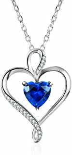 Sterling Silver Created Blue Sapphire Heart Pendant Necklace for Women, 18''