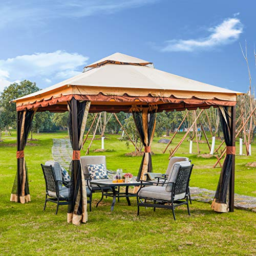 LOKATSE HOME x 9.8' Patio Canopy Gazebo Shelter Soft-Top Garden Tent with Mosquito Netting and Shade Curtains for Backyard, Lawn, Deck, 9.8inch