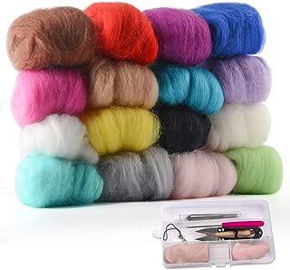 Zealor 16 Colors Needle Felting Wool Set 5g Each Color with Needle Felting Starter Kit Wool Felt Tools