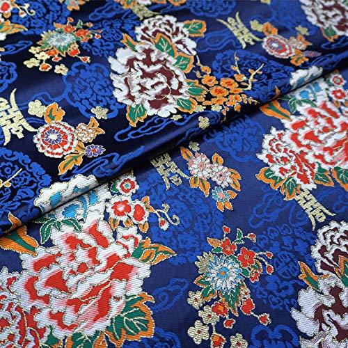 IQQI Azul Real del Peony Brocade Fabric, Cheongsam Hanfu Juego De La Espiga De La Nube De Brocade Tela De Seda