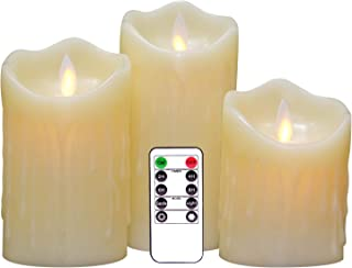 DRomance Moving Wick Flameless Dripping Candles Battery Operated with Remote and Timer, Set of 3 Real Wax LED Flickering Candles Warm Light Christmas Decoration(Ivory, 3