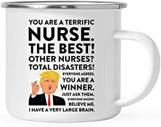 Andaz Press Funny President Donald Trump Stainless Steel 11oz. Campfire Coffee Mug Gift, Terrific Nurse, 1-Pack, Metal Enamel Christmas Birthday Drinking Camp Cup Republican Political