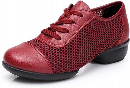 BYLE Sangle de Cheville Sandales en Cuir Chaussures de Danse Modern'Jazz Samba Bottes en Caoutchouc Chaussures de Danse Court Rouge Doux