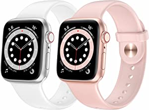 OUHENG 2 Pack Sport Band Compatible with Apple Watch Band 41mm 40mm 38mm 45mm 44mm 42mm, Soft Silicone Band Replacement Strap for iWatch Series 7/6/5/4/3/2/1 SE (Pink Sand/White, 41mm 40mm 38mm)